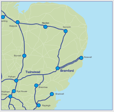 Bramford Twinstead Map